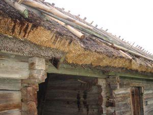 Gammalt tak av vass med nytt lager av halm. Kvek, Uppland. 2007